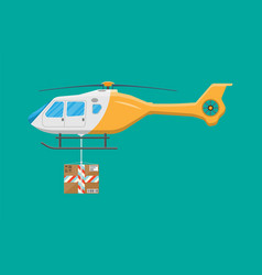 Helicopter drone with box vector