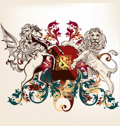 heraldic design with shield winged horse and lion vector image