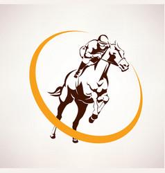 Horse race stylized symbol jockey riding a vector