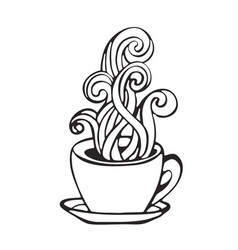 hot coffee cup smoke icon handdrawn vector image