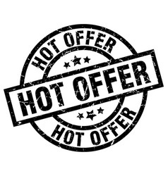 Hot offer round grunge black stamp vector