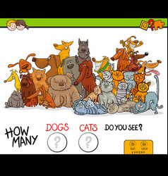 How many dogs and cats educational game vector