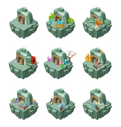 Isometric Mining Islands Set vector image