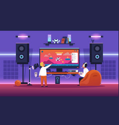 kids streaming game children play with console vector image