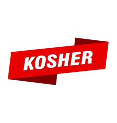 Kosher banner template kosher ribbon label sign vector