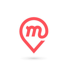 letter m geotag logo icon design template elements vector image