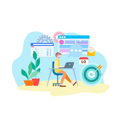 marketer online at work on the internet in vector image