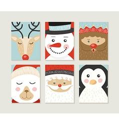 Merry christmas card set cute retro santa elf face vector image