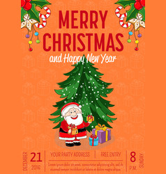 merry christmas poster for holiday party promo vector image