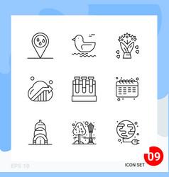 modern pack 9 icons line outline symbols vector image