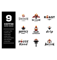 Nine coffee badge design vector