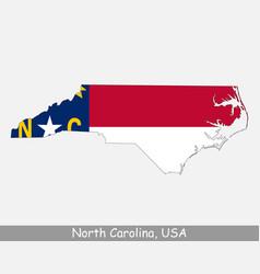 north carolina usa map flag vector image