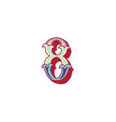 Number 8 lettering vector