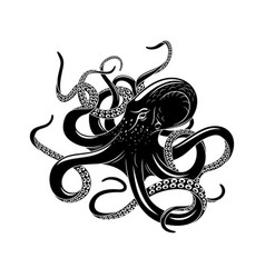Octopus icon for sea monster tattoo design vector