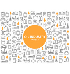 Oil industry line icons pattern vector
