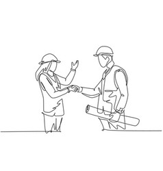 one line drawing young architect woman vector image