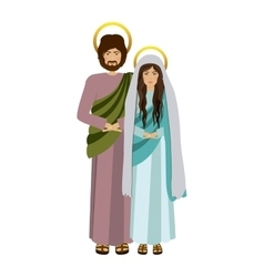 Picture colorful virgin mary and saint joseph vector
