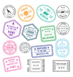 Postal and visa different stamps with airport vector