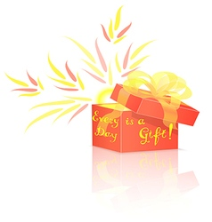 Red gift box with lettering vector