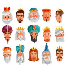 Royal characters cartoon set vector