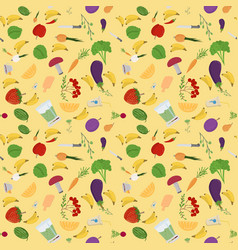 seamless 7 pattern of flat style vegetables and vector image