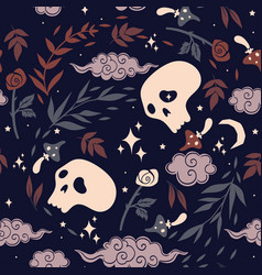 seamless pattern with skulls roses and mushrooms vector image