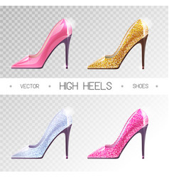 Set ladies disco high heels shoes isolated on vector