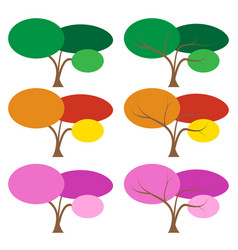 Set of color tree in many season vector