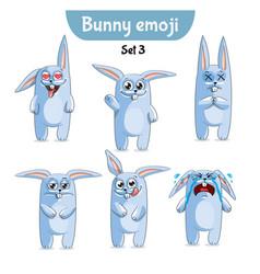 set of cute rabbit characters set 3 vector image