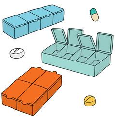 set of pill box vector image