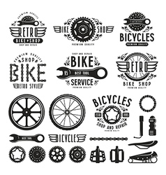 Set of vintage bike shop labels vector