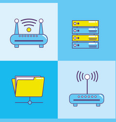 set technology data center connection vector image