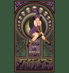 sexy witch and moon art nouveau greeting card vector image