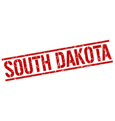 South dakota red square stamp vector
