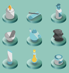 spa color isometric icons vector image