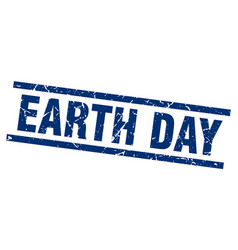 Square grunge blue earth day stamp vector