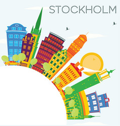 stockholm skyline with color buildings blue sky vector image