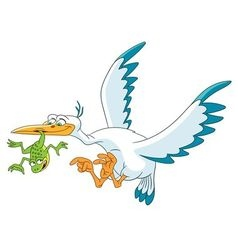 Stork bird and frog vector