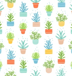 Succulents colorful doodle pattern vector