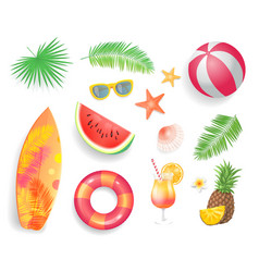 summer tropical items icons vector image