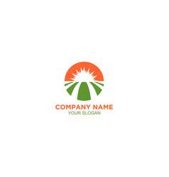 sun farm land logo design vector image