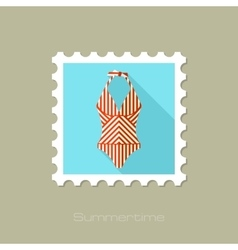 Swimsuit flat stamp with long shadow vector