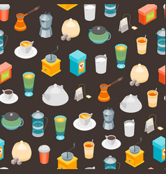 tea and coffee seamless pattern background 3d vector image