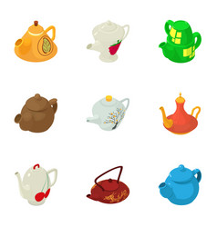 Tea service icons set isometric style vector