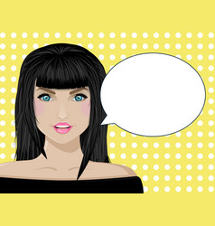 template for your design beautiful girl talking vector image