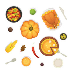 Thanksgiving dish menu top view table with roasted vector