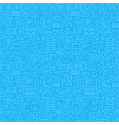 Thin Line Blue Office Business Seamless Pattern vector image vector image