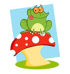 Tree Frog On A Toadstool Or Mushroom vector