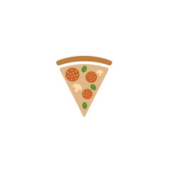 triangle pizza with mushrooms and tomatoes vector image