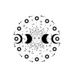 Triple moon pagan wiccan goddess symbols vector